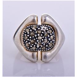 Art Deco Sterling Silver Marcasite Ring.