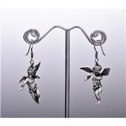 NF Sterling Silver Cherub Angel Earrings. Est