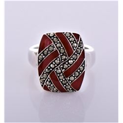 Marcasite Red Enamel Sterling Silver Ring,