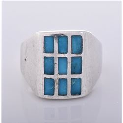 Native American Checker Inlaid Southwest Blue