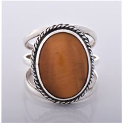 Tiger's Eye Sterling Silver Ring With Three Bar