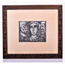 1932 Rouault Modernist Woodcut Print from artist guild original frame.
