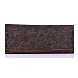 Vintage Haitian Wood Carved Plaque.