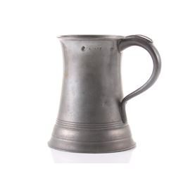 Antique pewter quart size mug with Maker Hall