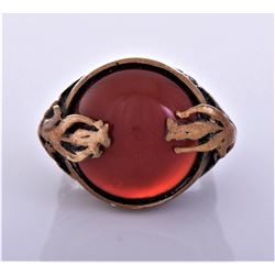 Vintage Bronze Red Carnelian Ring. Ring Size
