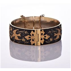 Vintage Damascene Bracelet With Birds Flowers