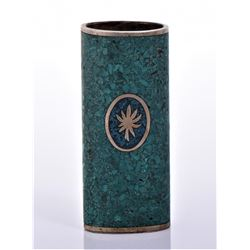 Vintage Bronze/Brass Crushed Turquoise Lighter