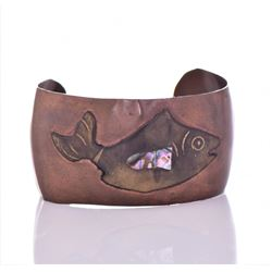 Vintage Hippie Fish Brass Cuff Bracelet With