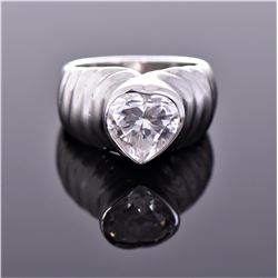 18k White Gold Plated Ring With Heart Shaped