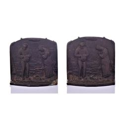Vintage cast iron bookends feature a scene
