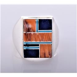 WC, Zuni Inlaid Sterling Silver Ring With