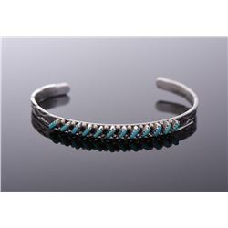 Zuni Old Pawn Turquoise Needlepoint Sterling