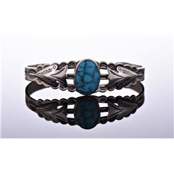 Nickel silver Navajo cuff bracelet with