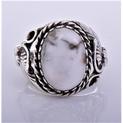 Native American White Agate Sterling Silver