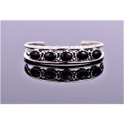 Native American Southwest Black Onyx Sterling