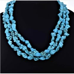 Three Strand Blue Turquoise Necklace With