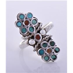 Native American Sterling Silver Red Coral And