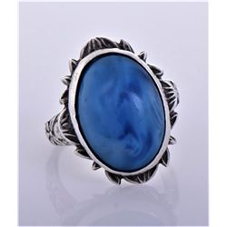 Blue Stone Sterling Silver Rope Ring. Silver