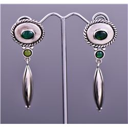 Navajo Sterling Silver Malachite Dangling