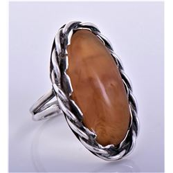 Brown Stone Sterling Silver Rope Ring. Silver
