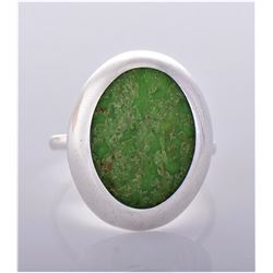 Vintage Green Stone Sterling Silver Ring.