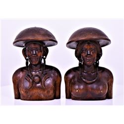 Two Large Indonesian Solid Wood Busts Of A