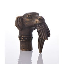 Bronze Cane Handle Of A Hunting Dog holding a