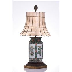 Vintage Chinese Porcelain Lamp With Capiz
