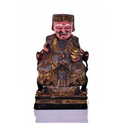 Asian Hand Painted Sculpture Of Emperor Sitting