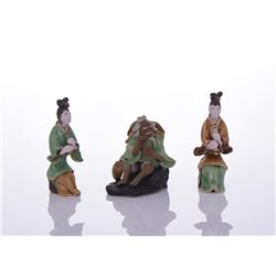 Three Chinese Mud Men Glazed Figures Of Two