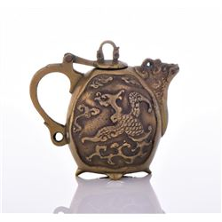 Rare Chinese Miniature Bronze Tea Pot Adorned