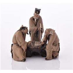 Chinese Mud men Scholars Playing A Table Game
