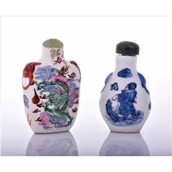 Two Chinese Porcelain Snuff Bottles. Estimate