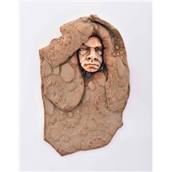 Gothic Clay Sculpture of Shrouded Man With A