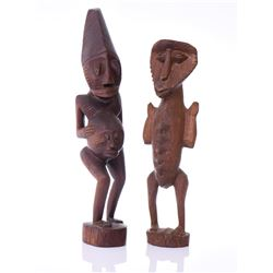 Two African Fertility Figures Carved From