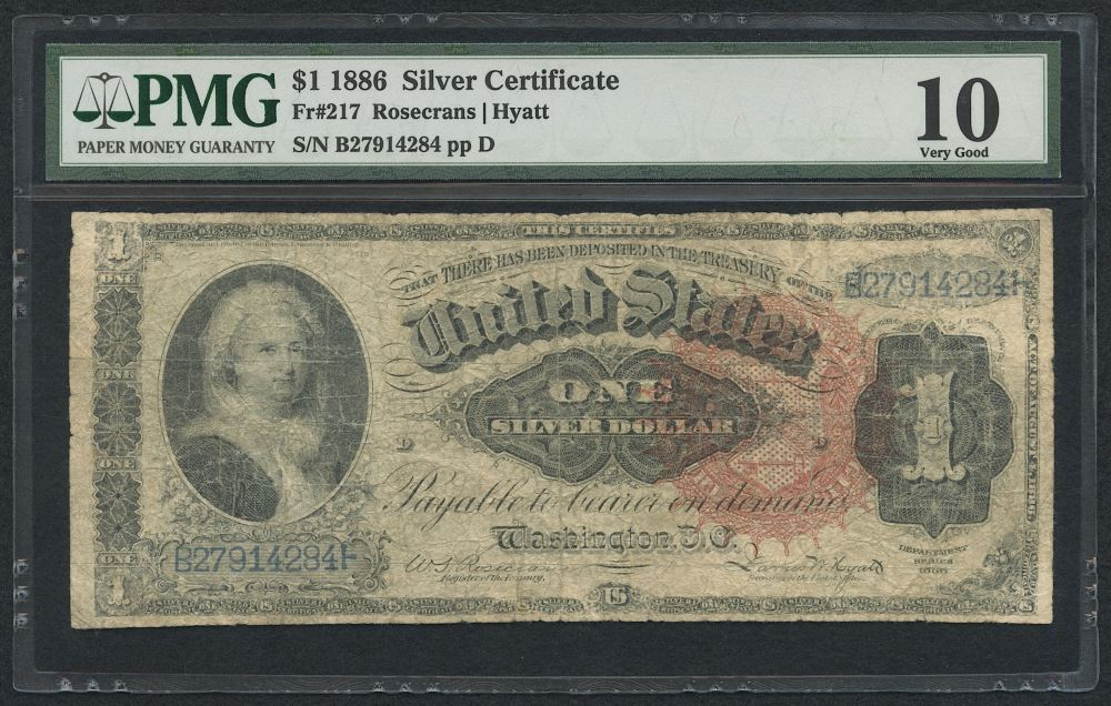 1891 1 One Dollar Us Silver Certificate Large Size Currency Bank