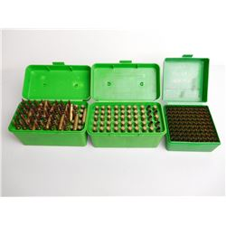 ASSORTED RNDS OF 223 -7MM T/CU AND BRASS WITH PLASTIC HOLDERS