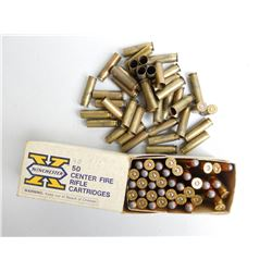 ASSORTED LOT OF .351 WIN .SL. 180 GR AMMO AND BRASS