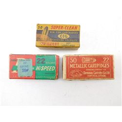 ASSORTED LOT OF .22 SHORT IN VINTAGE BOXES