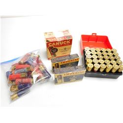 ASSORTED LOT OF 12 GA X 2 3/4 SHOTGUN SHELLS VARIOUS INCLUDING RIFLED SLUGS AND SHOT SIZES WITH PLAS