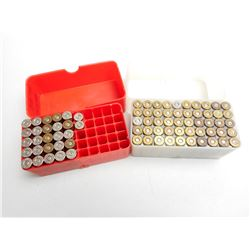 ASSORTED LOT OF 38 SPL W/C AND 357 MAG RELOAD AMMO IN PLASTIC CASES