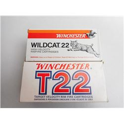ASSORTED LOT OF WINCHESTER 22 LR INCLUDING T22 AND WILDCAT 22