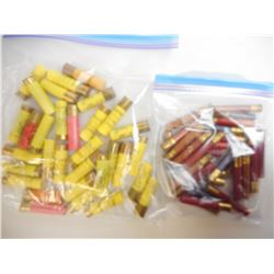 ASSORTED LOT OF 20 GA AND 410 GA SHOTGUN SHELLS IN VARIOUS LENGTHS AND SHOT SIZES SOME VINTAGE PAPER