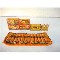 ASSORTED LOT OF COLLECTABLE .22 INCLUDING WHIZ BANGS/ ALSO 22 HORNET AND 30-30 ON LEATHER HOLDER