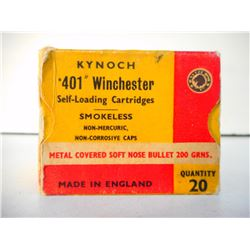 KYNOCH .401 WINCHESTER SELF-LOADING SMOKELESS CARTRIDGES