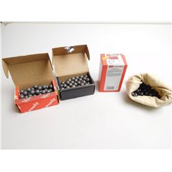 ASSORTED LOT OF LEAD BALLS INCLUDING 50 CAL ROUND BALLS (ALSO CONTAINS A FEW .451 DIAM RND BALLS