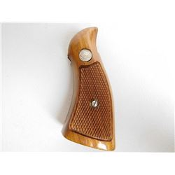 S & W K FRAME REVOLVER GRIPS - BROWN CHECKERED