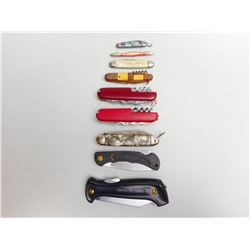ASSORTED LOT OF POCKET FOLDING KNIVES INCLUDING MULTI-TOOL
