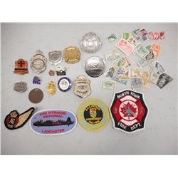 ASSORTED MILITARY, POLICE AND FIRE DEPARTMENT PIECES