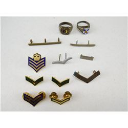 ASSORTED RINGS & RANK PINS